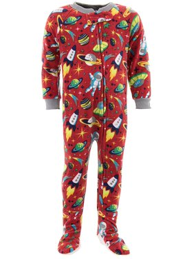 Mon Petit Boys Space Ships Red Footed Pajamas
