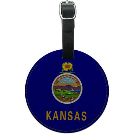 Kansas State Flag Round Leather Luggage ID Tag Suitcase Carry-On