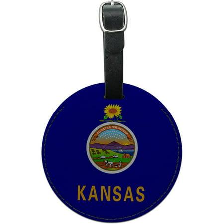 Kansas State Flag Round Leather Luggage ID Tag Suitcase (Flag Luggage Tag)