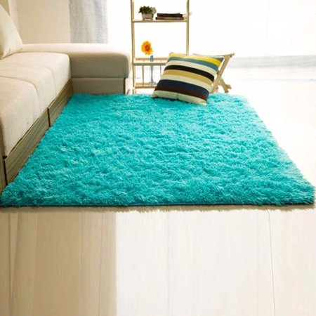 NK 15 x 23.6'' Rug Rectangle Oblong Shape Bedroom Fluffy Rugs Anti-Skid Shaggy Area Office Sitting Drawing Room Gateway Door Carpet Play Mat Pink Blue Grey (Hot Pink Carpet)