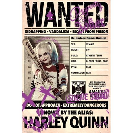 Suicide Squad- Harley Wanted Poster - - Personalized Wanted Poster