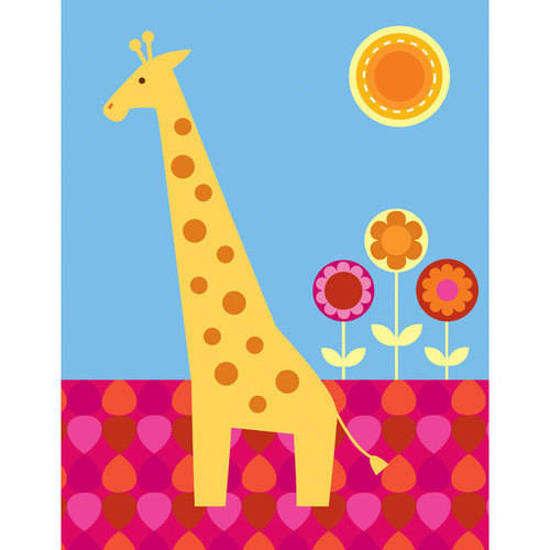 Oopsy Daisy - Floral Giraffe Canvas Wall Art 14x18, Clare Birtwistle