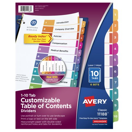 - Avery� Ready Index� 10-Tab Binder Dividers, Customizable Table of Contents, Multicolor Tabs, 6 Sets (11188)