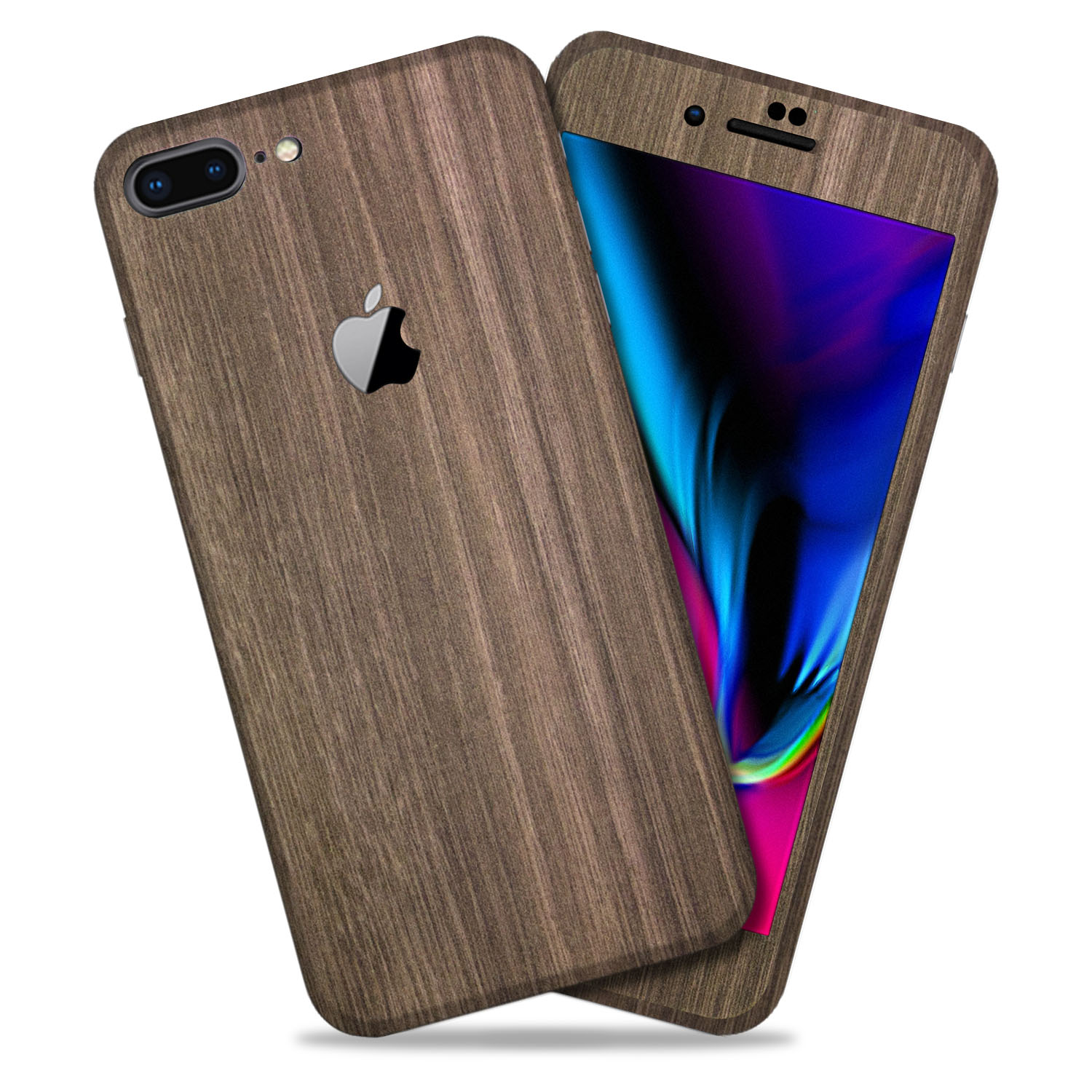 Brown Wood Texture Protective Skin Decal for Apple iPhone 8 Plus Vinyl Wrap Cover 2 Pack [Back 1-PK & 1-PK] by GolemGuard