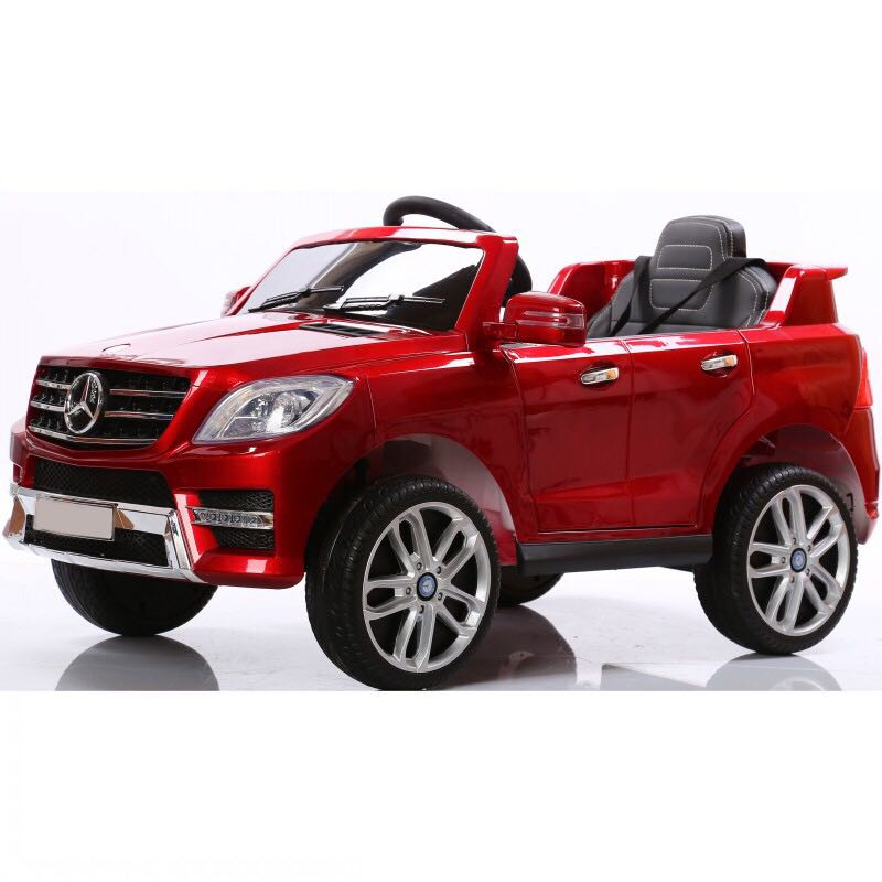 Electric 6V car Mercedes ML350 Ride on For Kids Power wheels with Remote Control Opening doors LED lights Leather Seat MP3 - Red