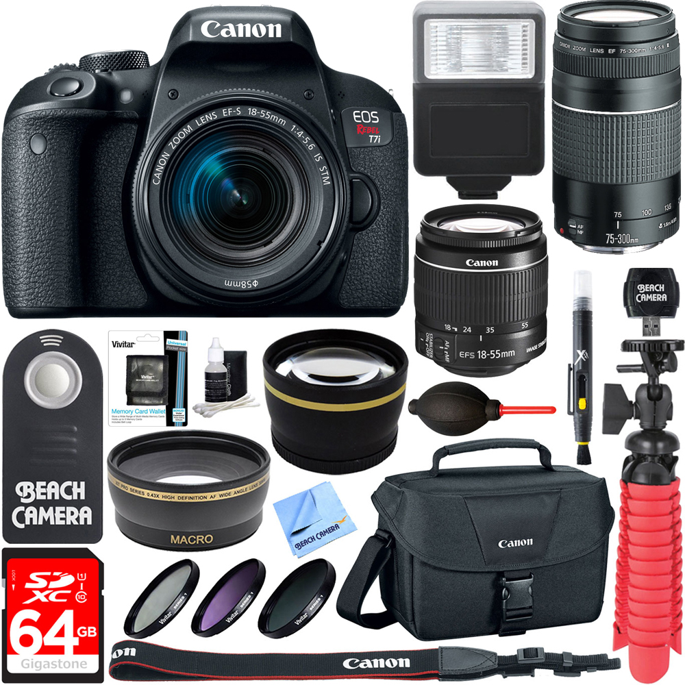 Canon EOS Rebel T7i DSLR T7 Camera (1894C002) + 18-55mm IS