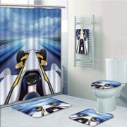 PRTAU Cars Overhead Route Perspective from Open Cockpit Racing Car Driving at High Speed 5 Piece Bathroom Set Shower Curtain Bath Towel Bath Rug Contour Mat and Toilet Lid Cover