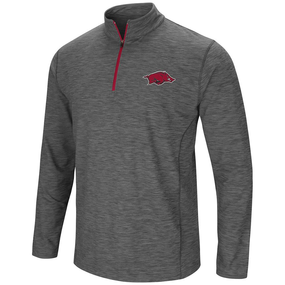 Mens Arkansas Razorbacks Action Pass Long Sleeve Quarter Zip Wind Shirt