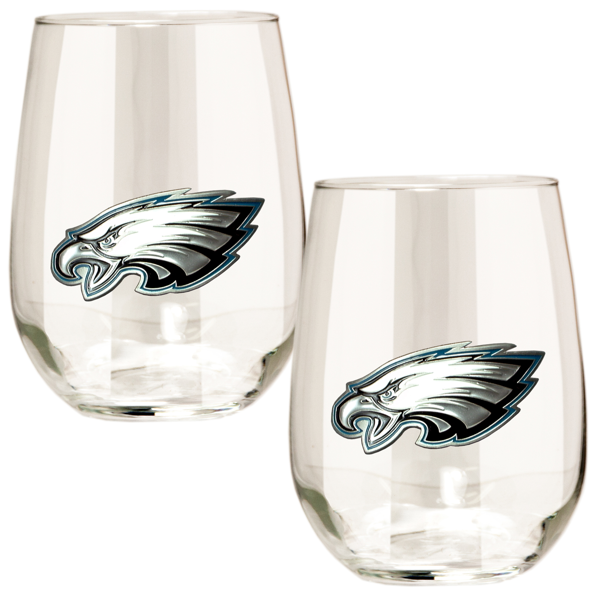 Philadelphia Eagles 15oz. Stemless Wine Glass Set - No Size