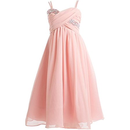 Big Girls' Wrapped Crystal Ruched Chiffon Gown Flowers Girls Dresses Blush 10 (J35K56) - Flowers For Dresses