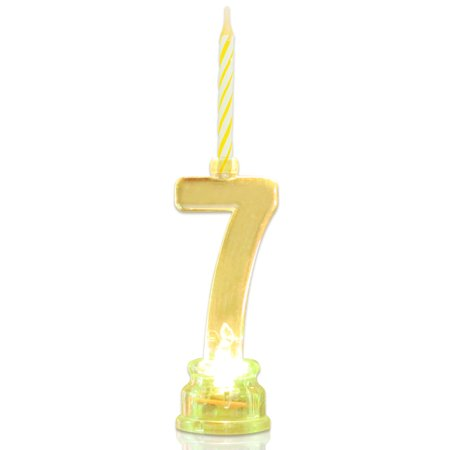Multicolor Flashing Number Candle Set Novelty Place Color Changing LED Birthday Cake Topper With 4 Wax Candles 7