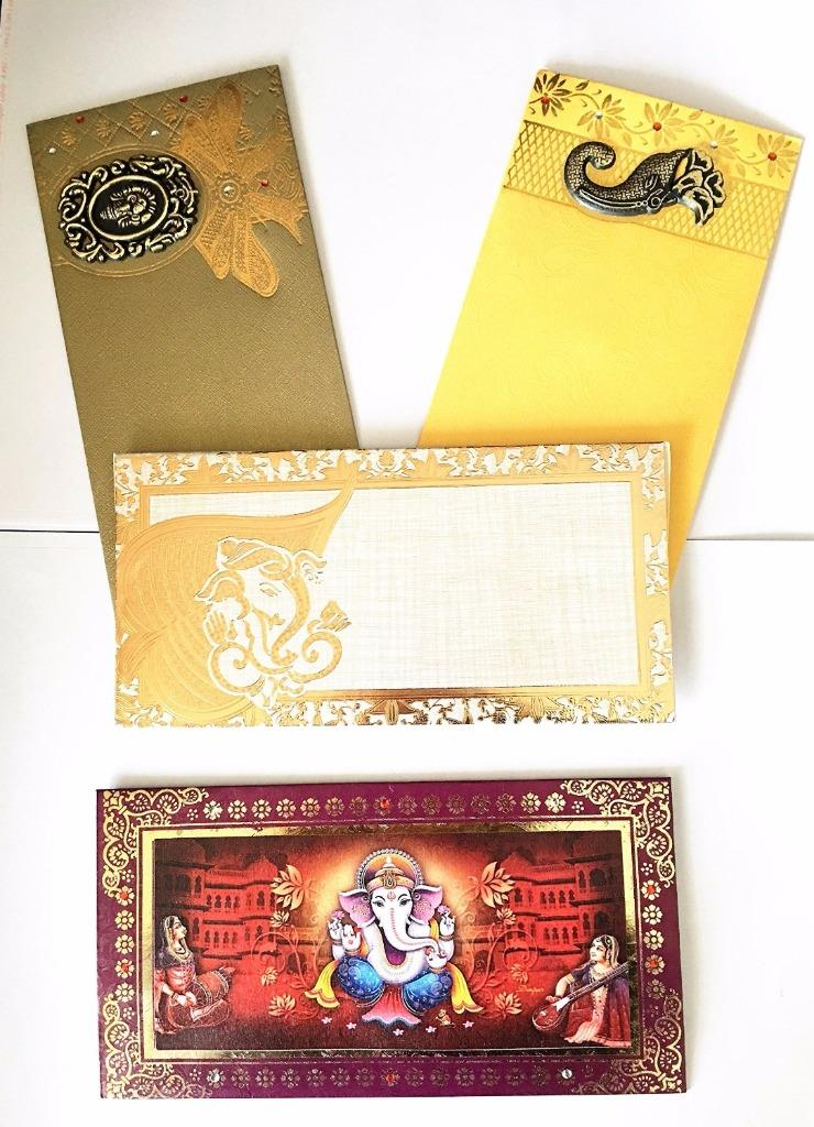 Lightahead® GIFT ENVELOPE CARD MONEY HOLDER FANCY PACKET FOR GIFTING AT FESTIVE OCCASIONS SET OF 4 GANESH ASSORTED DESIGN & COLORS