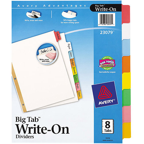 Avery Big Tab Write-On Dividers, 8-Tab Set