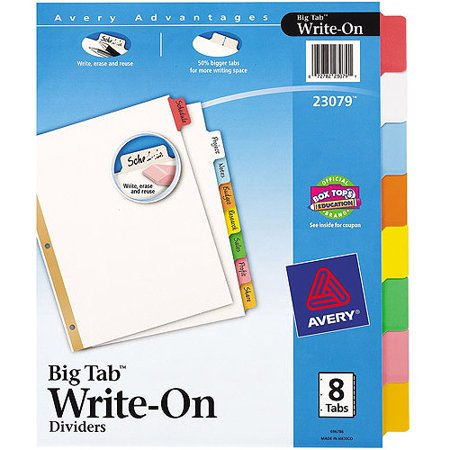Avery big tab write on dividers 8 tab set walmartcom for Avery 3 tab dividers