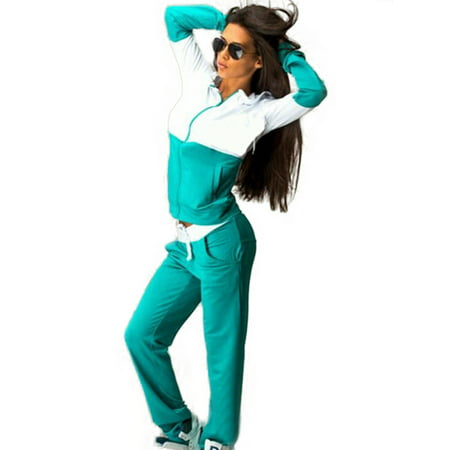 - 2Pcs Women Tracksuit Hoodie Sweatshirt Pants Sets Running Sport Wear Casual Suit