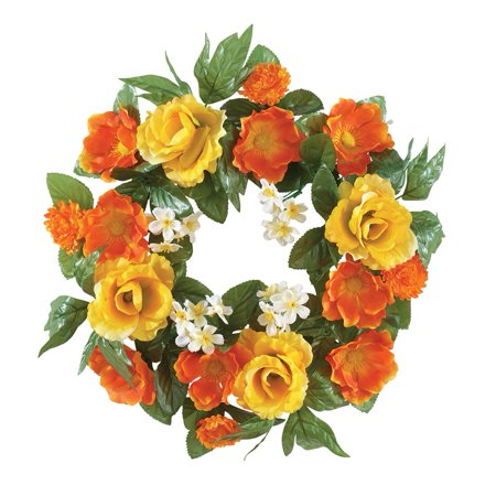 Tropical Floral Artificial Roses 17 Door Or Wall Wreath Orange