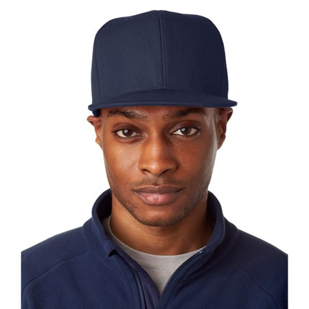 UltraClub Mens Flat Bill Snap Buckle Structured Closure Cap, Navy, OS, Style, 8160