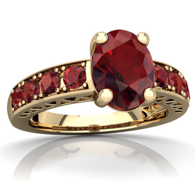 Garnet Art Deco Ring in 14K Yellow Gold by