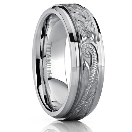 Hand Engraved Band - Men's Women's Hand Engraved Titanium Wedding Ring Unisex Band, Comfort Fit 7mm