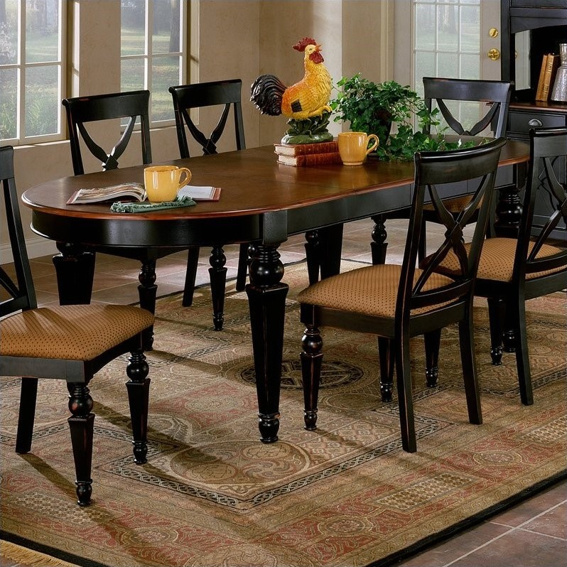 hillsdale northern heights casual dining table in black and cherry