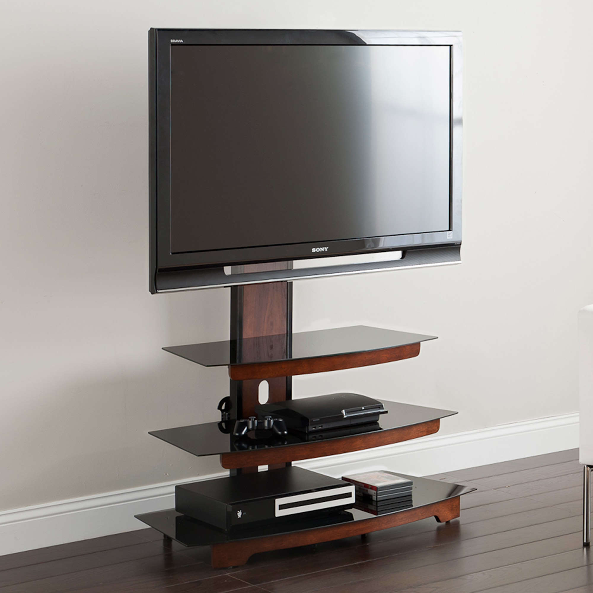 Whalen 3 Tier Television Stand For Tvs Up To 50 Perfect For Flat Screens Black Metal With Wood Trim Accent Walmart Com Walmart Com