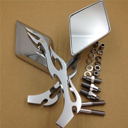 Harley Davidson Bike (HTT-MOTOR Motorcycle Diamond Flame Stem Mirrors For Harley Davidson Or Metric Bike Chromed )