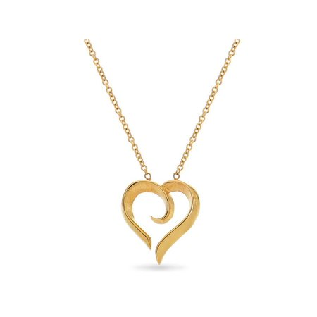 Eternal Heart 14KT Yellow Gold Heart Swirl Necklace 18 Inches