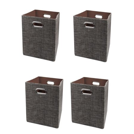 Huppin's 4Pcs Fashion Linen Cotton Foldable Storage Ottoman Locker Fabric Toy Storage Box