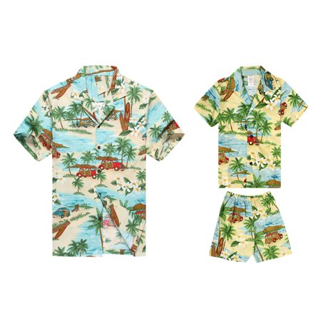 fc9a1f21 Hawaii Hangover - Made in Hawaii Matching Father Son Shirts Cabana Set in Vintage  Cars Surfboards in Green 2XL-2 - Walmart.com