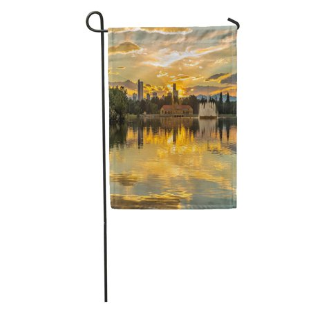 LADDKE Golden Sunset at City Park Summer View of Ferril Lake in Denver Skyline and Front Range Mountains The Garden Flag Decorative Flag House Banner 12x18 inch ()