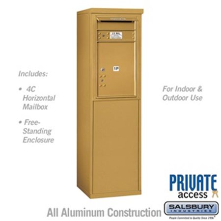 Salsbury 3907S-1PGFP 55 - 0.25 in. 7 Door High Unit Single Column Stand Alone Parcel Locker 1 PL5 with Outgoing Mail Compartment Front Loading Free Standing 4C Horizontal Mailbox Unit, - Outgoing Mail