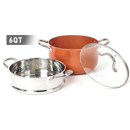 FGY 6 Quart Sauce Pot With Non-Stick Ceramic Copper Coating and Lid Stainless Steel Steamer Included