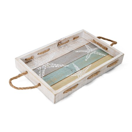 Elements 16-Inch Rectangle Starfish Distressed Wood Tray ()