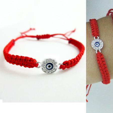 Evil Eye Hamsa Nazar Mati Silver Plated Red Macrame Kabbalah Bracelet Lucky Gift
