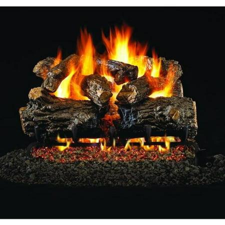 Peterson Real Fyre 18-inch Burnt Rustic Oak Log Set With Vented Propane G4 Burner - Manual Safety (Oak Propane Vent)