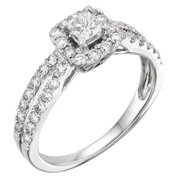 Sofia 14k White Gold 1ct TDW Princess Certified Diamond Engagement Ring (H-I, I1-I2) Size - 5