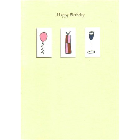 Freedom Greetings 3 Windows Balloon Present Wine Birthday Card