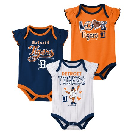 MLB Detroit Tigers Onesie Creeper GIRL 3PK 100% Cotton ASSORTED Colors 0M-18M - Girls Tiger Onesie