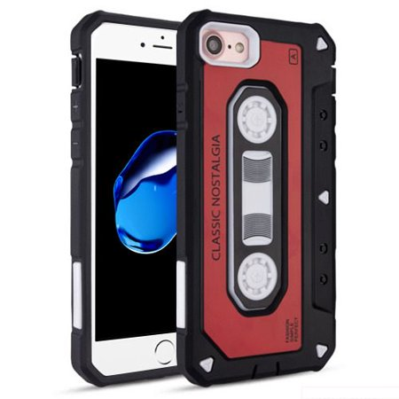 Red Classic Cassette Tape Dual Shock Case For Apple iPhone 7 / iPhone 8 Phone (Cassette Tape Case For Iphone 4)