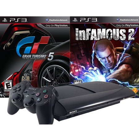 Refurbished Playstation 3 Super Slim 500GB Gran Turismo 5 Infamous 2 Legacy Bundle