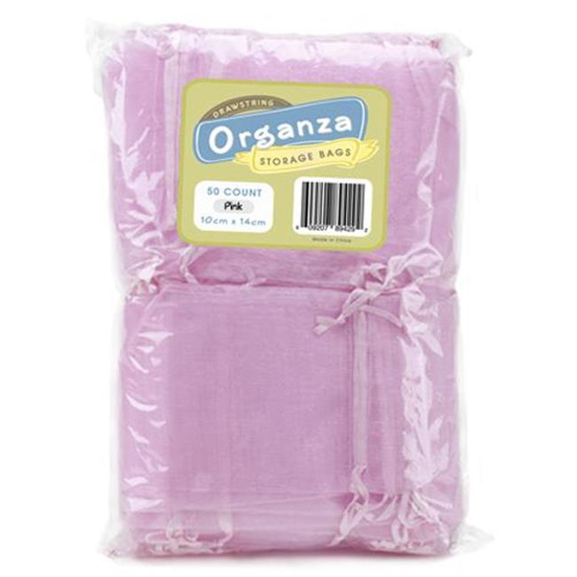Bry Belly MORG-002 Lot of 50 Light Pink Drawstring Organza Storage Bags
