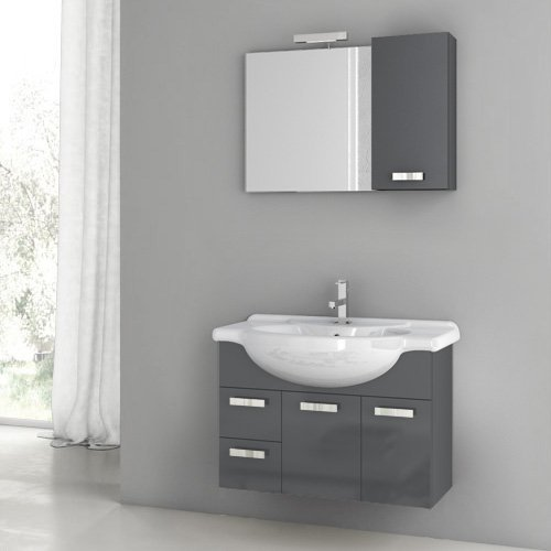 ACF by Nameeks ACF PH02-GA Phinex 32-in. Single Bathroom Vanity Set - Glossy Anthracite