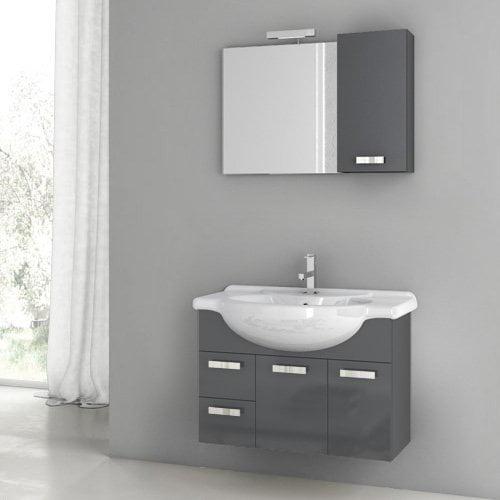 ACF by Nameeks ACF PH02-GA Phinex 32-in. Single Bathroom Vanity Set - Glossy Anthracite