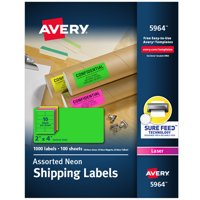 "Avery 2""x 4"" Neon Shipping Labels with Sure Feed, 1,000 Labels (5964)"