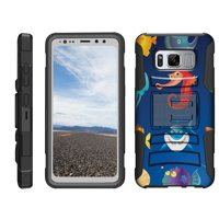 TurtleArmor ® | For Samsung Galaxy S8 Active G892 [Hyper Shock] Rugged Dual Layer Hybrid Armor Kickstand Holster Belt Clip Case - Cute Sea Animals