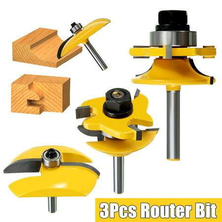 "Drillpro 3Pcs 1/4"" Cove Raised Panel and Round Rail & Stile Router Bit Set"