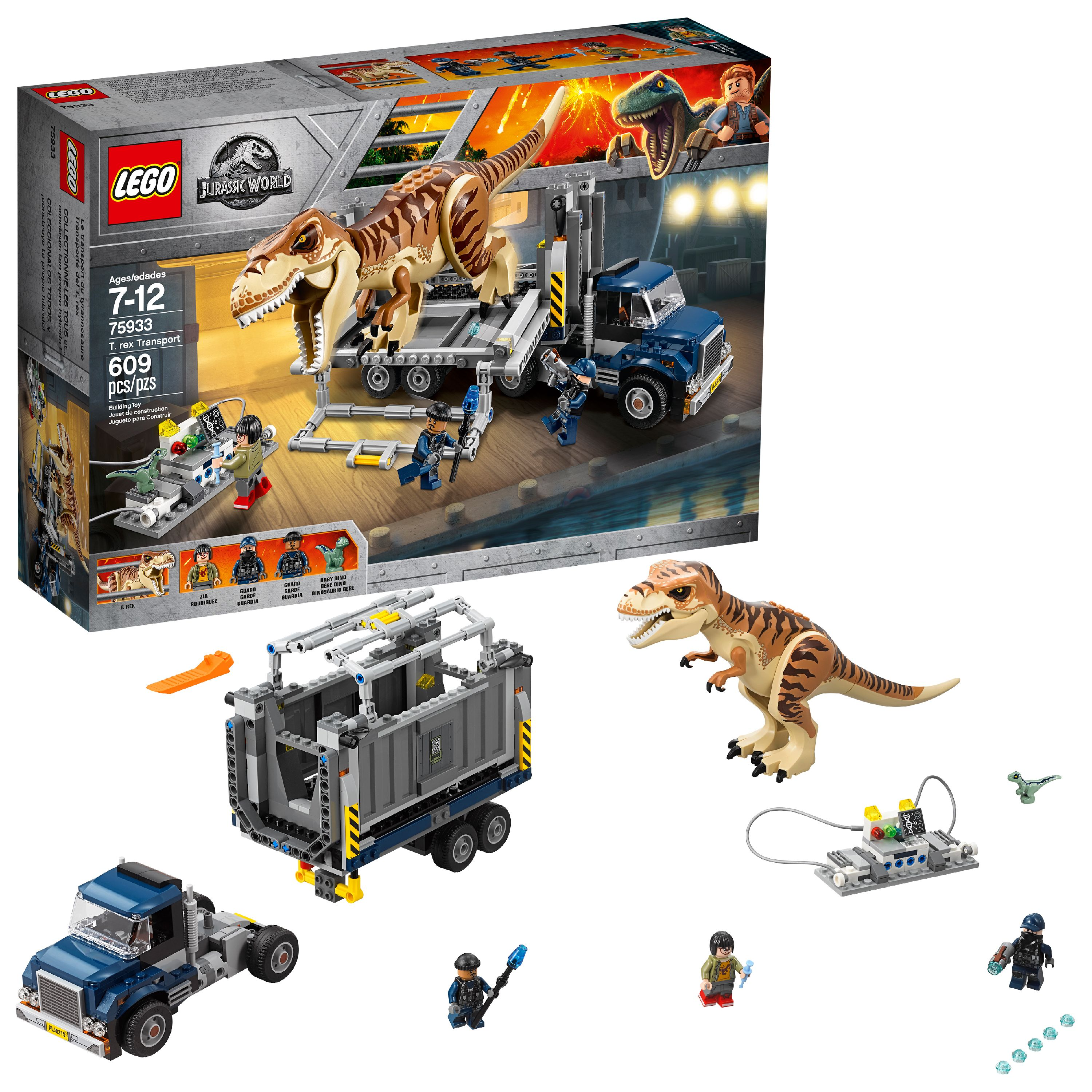 LEGO Jurassic World T. Rex Transport 75933 (609 Pieces)