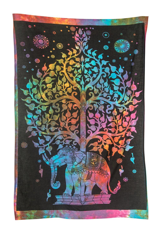 Tribe Azure Colorful Elephant Tapestry Hippie Boho Wall ...