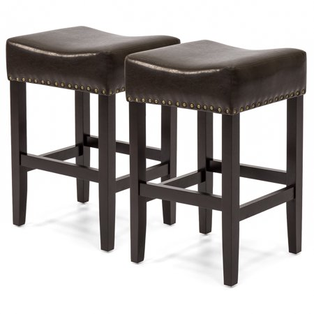 Best Choice Products Set of 2 Backless Faux Leather Upholstered 26in Counter Stools w/ Brass Nailhead Trim - Brown
