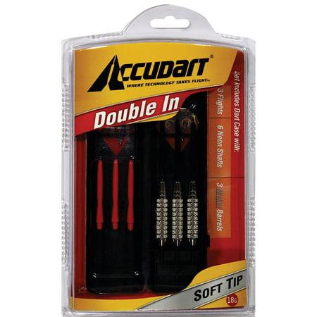Accudart Double In Soft Tip Dart Set Includes Flights, Shafts, Nickel Barrels, and Dart Case - Double Nickel Birthday